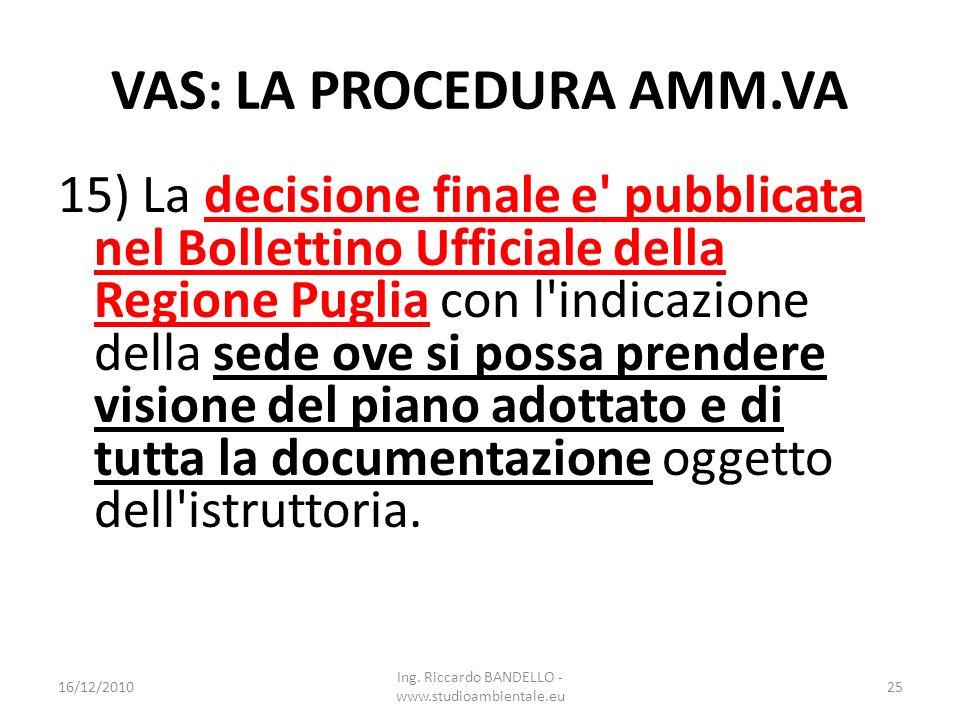 VAS: LA PROCEDURA AMM.VA 15) La decisione finale e' pubblicata nel Bollettino Ufficiale della Regione Puglia con l'indicazione della sede ove si possa