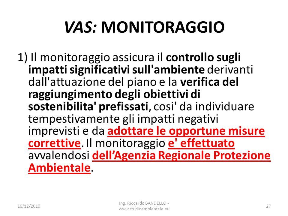 VAS: MONITORAGGIO 1) Il monitoraggio assicura il controllo sugli impatti significativi sull'ambiente derivanti dall'attuazione del piano e la verifica