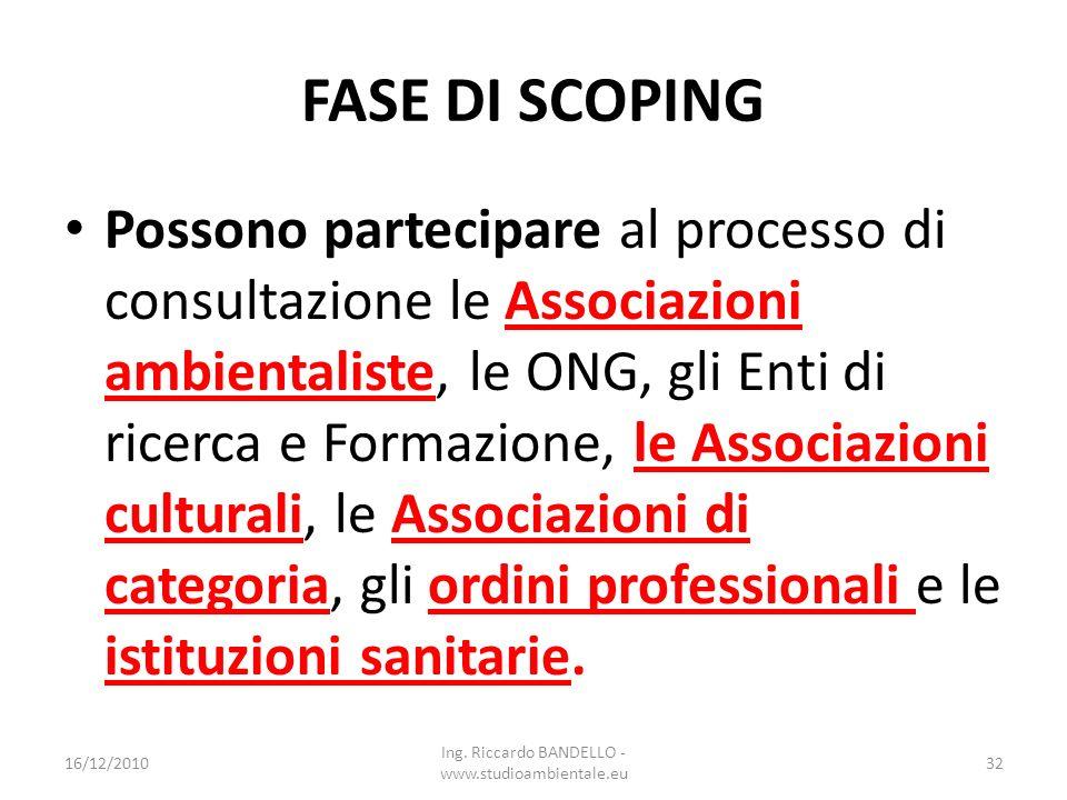 FASE DI SCOPING Possono partecipare al processo di consultazione le Associazioni ambientaliste, le ONG, gli Enti di ricerca e Formazione, le Associazi