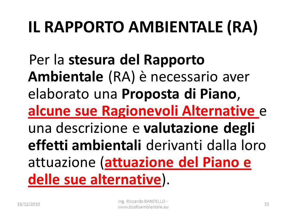 IL RAPPORTO AMBIENTALE (RA) Per la stesura del Rapporto Ambientale (RA) è necessario aver elaborato una Proposta di Piano, alcune sue Ragionevoli Alte