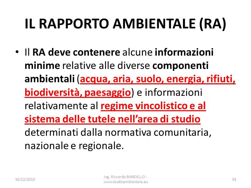 IL RAPPORTO AMBIENTALE (RA) Il RA deve contenere alcune informazioni minime relative alle diverse componenti ambientali (acqua, aria, suolo, energia,