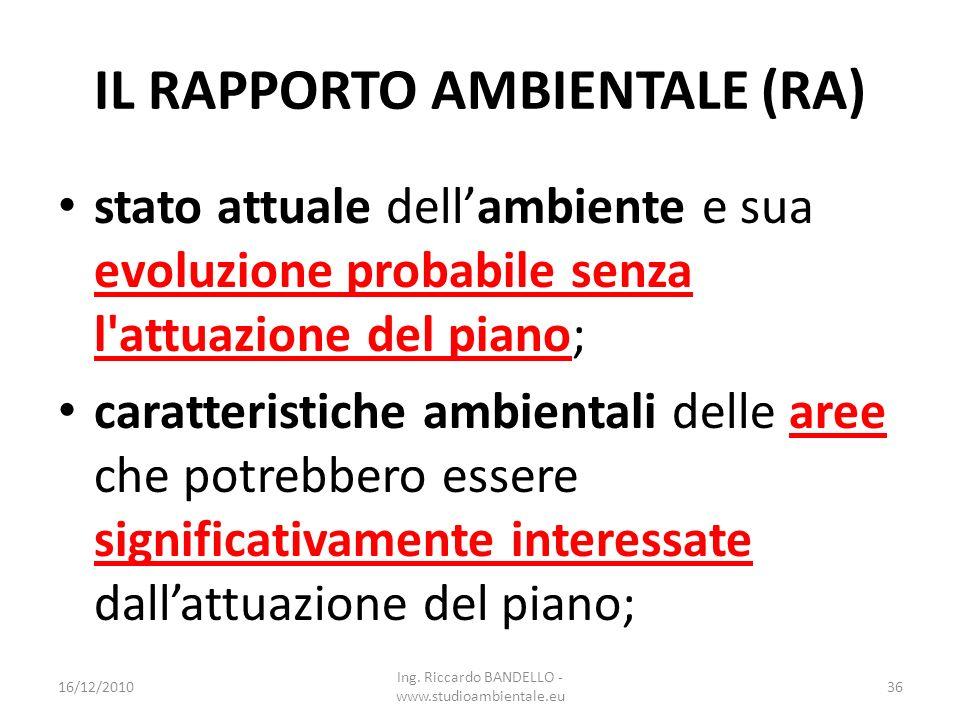 IL RAPPORTO AMBIENTALE (RA) stato attuale dellambiente e sua evoluzione probabile senza l'attuazione del piano; caratteristiche ambientali delle aree