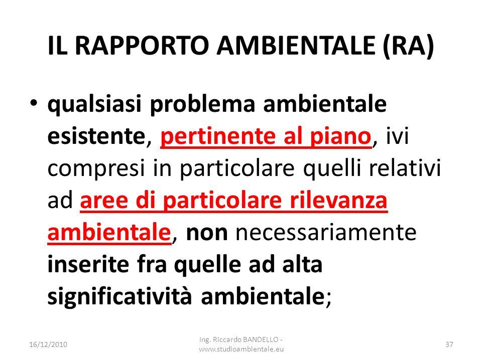 IL RAPPORTO AMBIENTALE (RA) qualsiasi problema ambientale esistente, pertinente al piano, ivi compresi in particolare quelli relativi ad aree di parti
