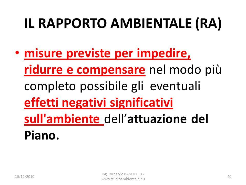 IL RAPPORTO AMBIENTALE (RA) misure previste per impedire, ridurre e compensare nel modo più completo possibile gli eventuali effetti negativi signific