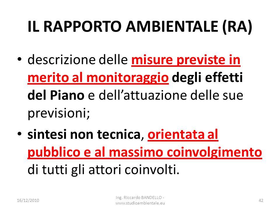 IL RAPPORTO AMBIENTALE (RA) descrizione delle misure previste in merito al monitoraggio degli effetti del Piano e dellattuazione delle sue previsioni;
