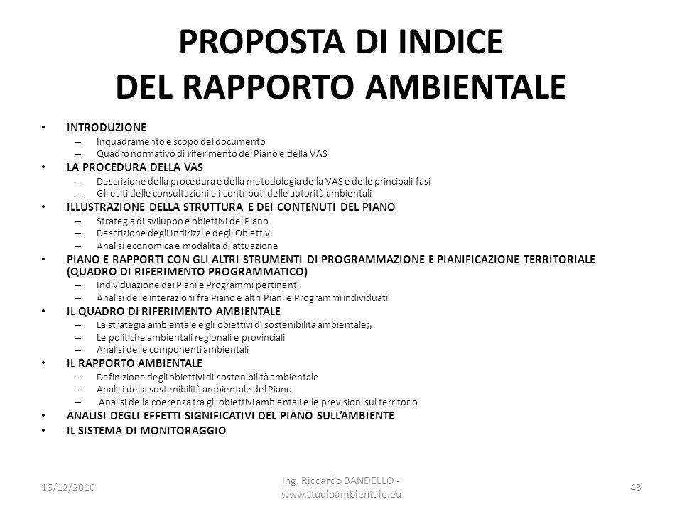 PROPOSTA DI INDICE DEL RAPPORTO AMBIENTALE INTRODUZIONE – Inquadramento e scopo del documento – Quadro normativo di riferimento del Piano e della VAS