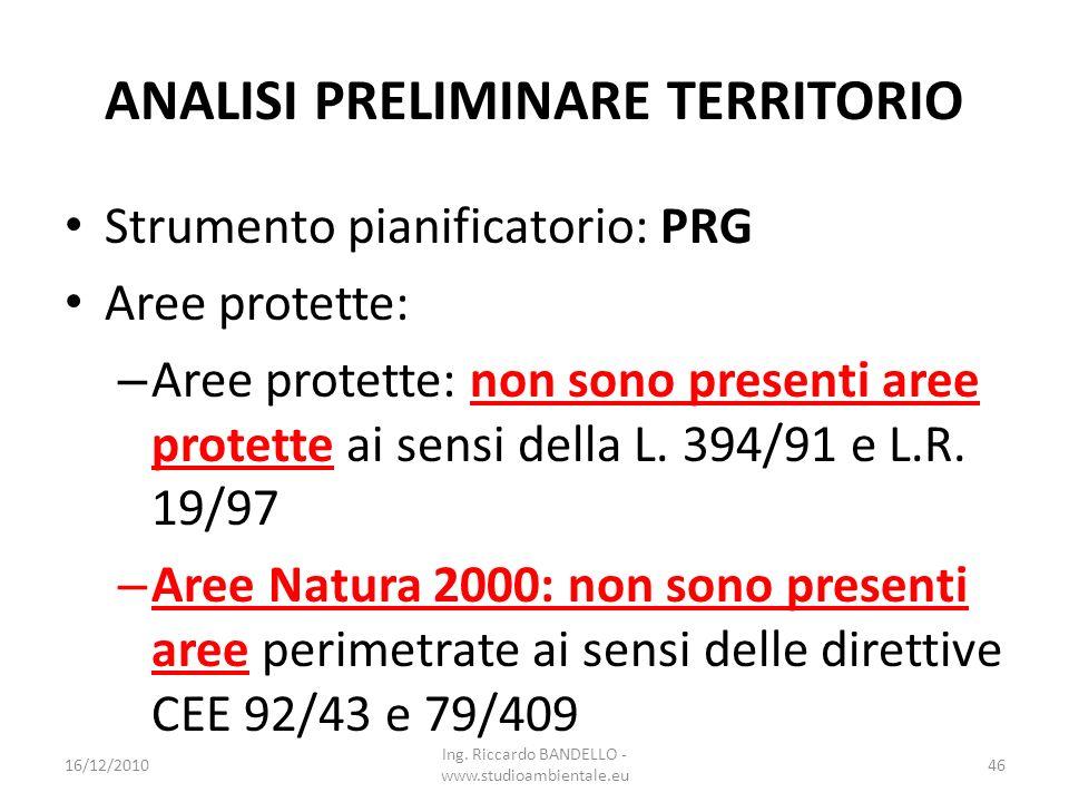 ANALISI PRELIMINARE TERRITORIO Strumento pianificatorio: PRG Aree protette: – Aree protette: non sono presenti aree protette ai sensi della L. 394/91