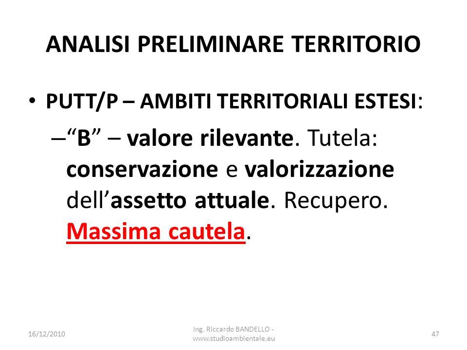ANALISI PRELIMINARE TERRITORIO PUTT/P – AMBITI TERRITORIALI ESTESI : –B – valore rilevante. Tutela: conservazione e valorizzazione dellassetto attuale