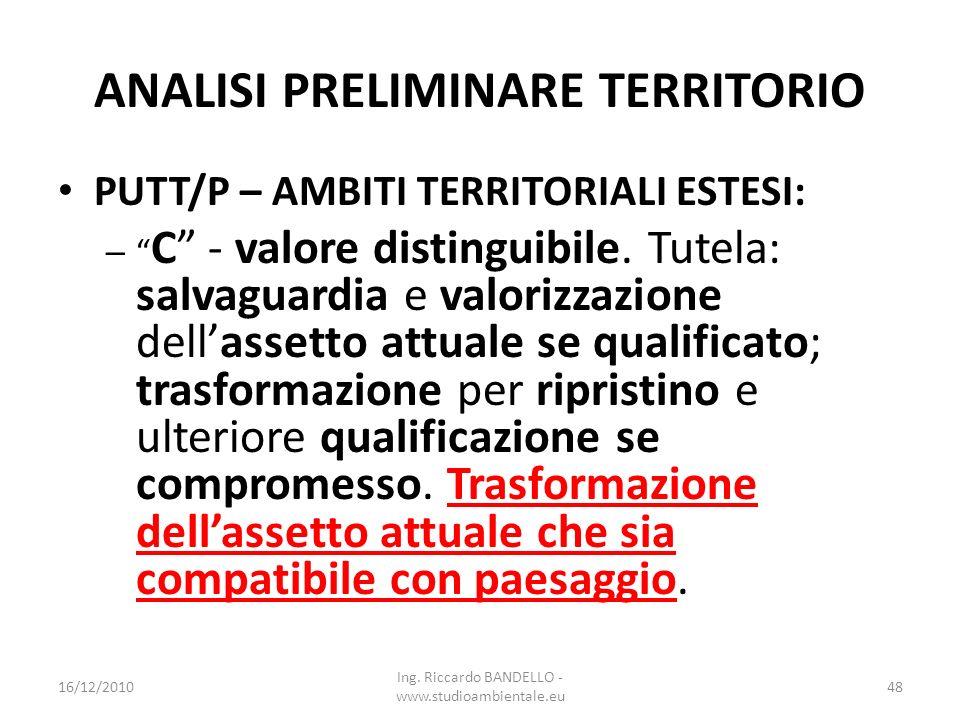 ANALISI PRELIMINARE TERRITORIO PUTT/P – AMBITI TERRITORIALI ESTESI: – C - valore distinguibile. Tutela: salvaguardia e valorizzazione dellassetto attu