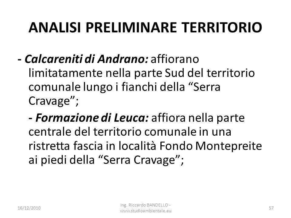 ANALISI PRELIMINARE TERRITORIO - Calcareniti di Andrano: affiorano limitatamente nella parte Sud del territorio comunale lungo i fianchi della Serra C