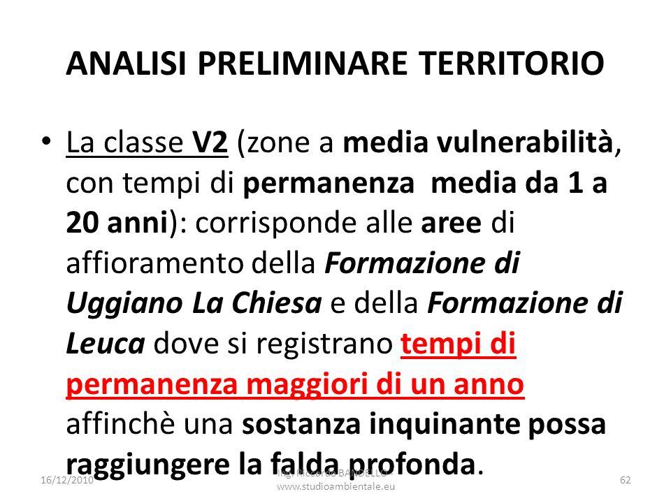 ANALISI PRELIMINARE TERRITORIO La classe V2 (zone a media vulnerabilità, con tempi di permanenza media da 1 a 20 anni): corrisponde alle aree di affio