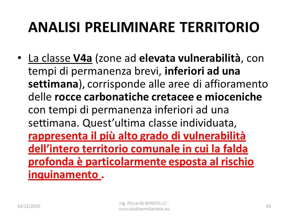 ANALISI PRELIMINARE TERRITORIO La classe V4a (zone ad elevata vulnerabilità, con tempi di permanenza brevi, inferiori ad una settimana), corrisponde a