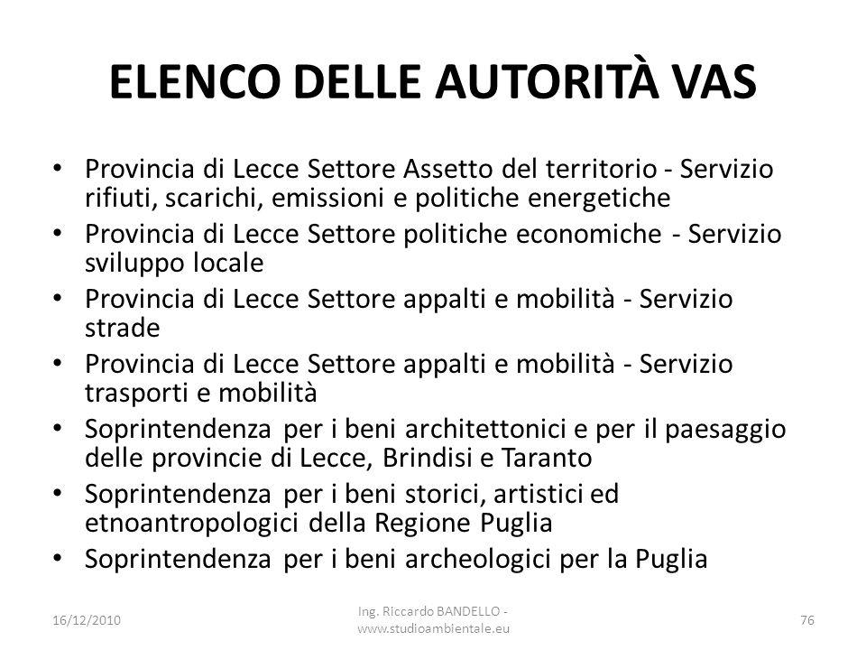 ELENCO DELLE AUTORITÀ VAS Provincia di Lecce Settore Assetto del territorio - Servizio rifiuti, scarichi, emissioni e politiche energetiche Provincia