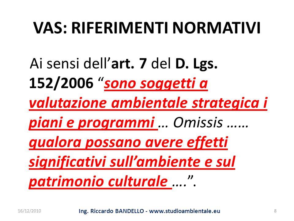 VAS: RIFERIMENTI NORMATIVI Ai sensi dellart. 7 del D. Lgs. 152/2006 sono soggetti a valutazione ambientale strategica i piani e programmi … Omissis ……
