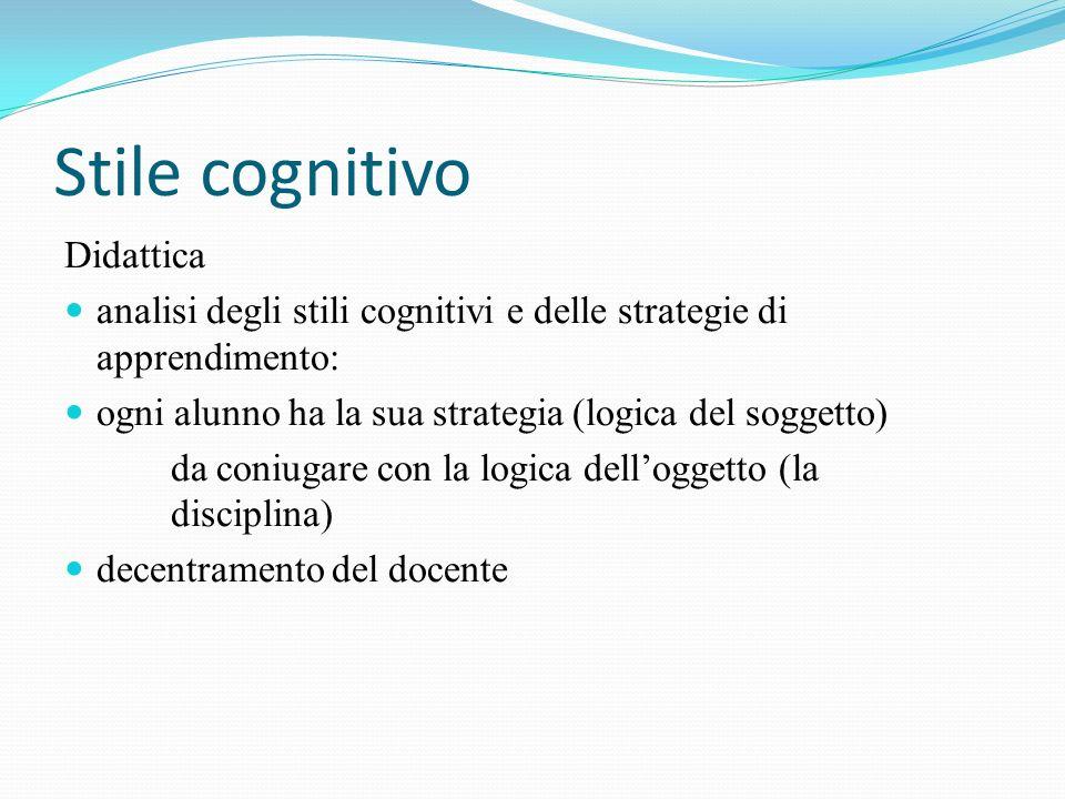 Stile cognitivo Didattica analisi degli stili cognitivi e delle strategie di apprendimento: ogni alunno ha la sua strategia (logica del soggetto) da c