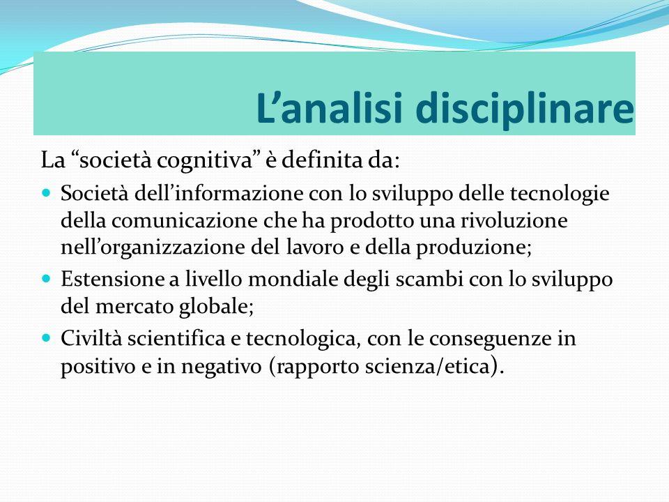 La società cognitiva è definita da: Società dellinformazione con lo sviluppo delle tecnologie della comunicazione che ha prodotto una rivoluzione nell