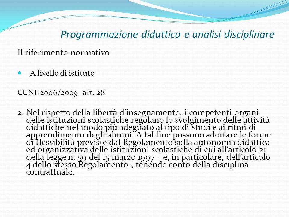 Programmazione didattica e analisi disciplinare Il riferimento normativo A livello di istituto CCNL 2006/2009 art. 28 2. Nel rispetto della libertà di