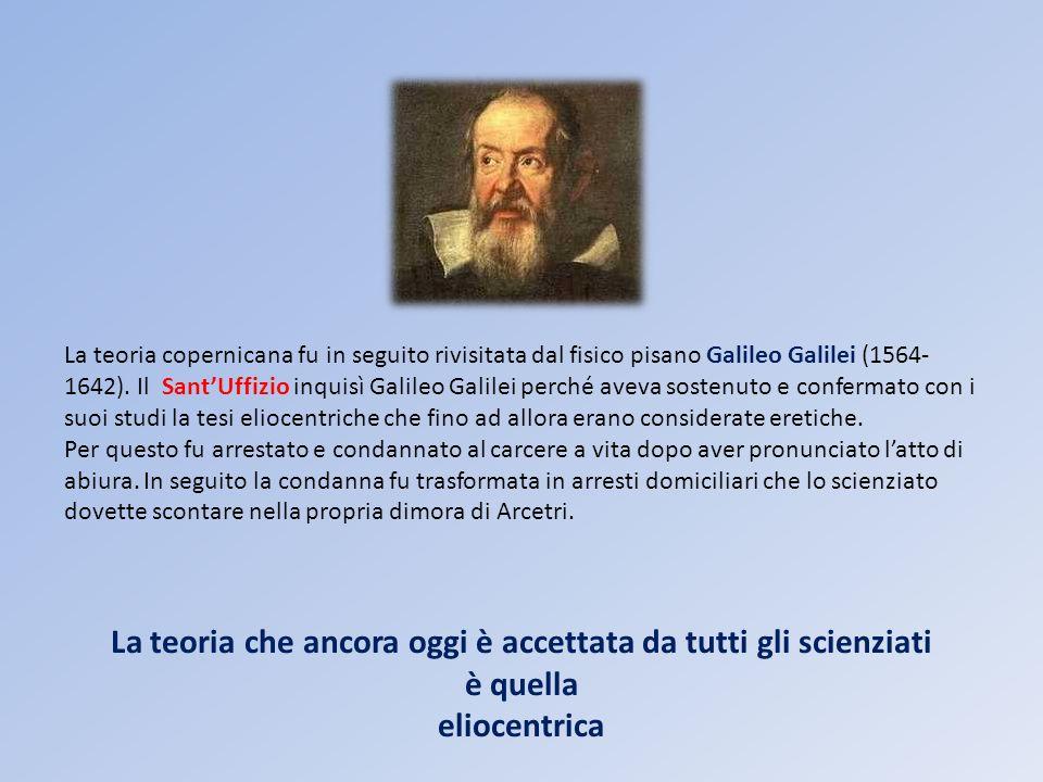 La teoria copernicana fu in seguito rivisitata dal fisico pisano Galileo Galilei (1564- 1642). Il SantUffizio inquisì Galileo Galilei perché aveva sos