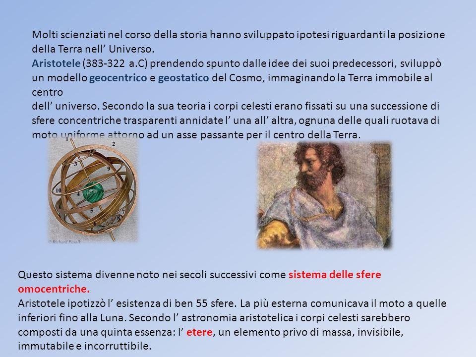 Molti scienziati nel corso della storia hanno sviluppato ipotesi riguardanti la posizione della Terra nell Universo. Aristotele (383-322 a.C) prendend