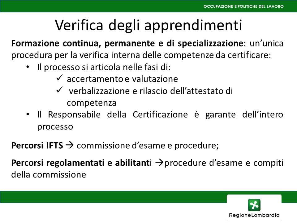 Verifica degli apprendimenti Formazione continua, permanente e di specializzazione: ununica procedura per la verifica interna delle competenze da cert