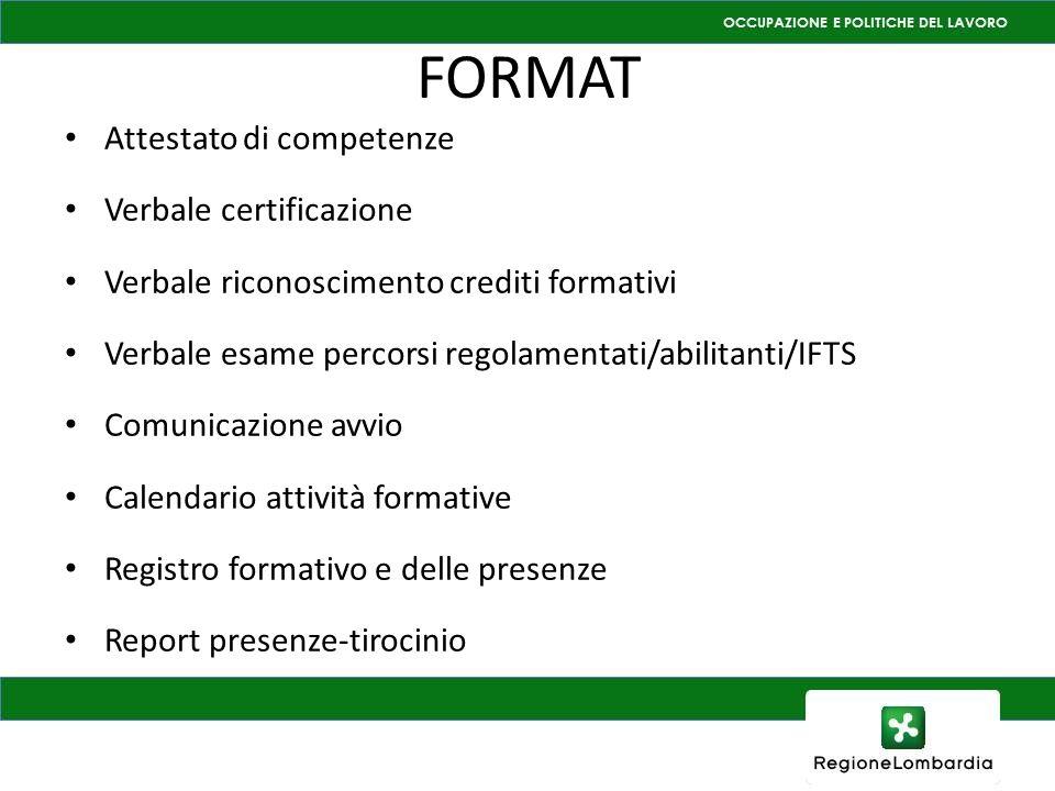 FORMAT Attestato di competenze Verbale certificazione Verbale riconoscimento crediti formativi Verbale esame percorsi regolamentati/abilitanti/IFTS Co