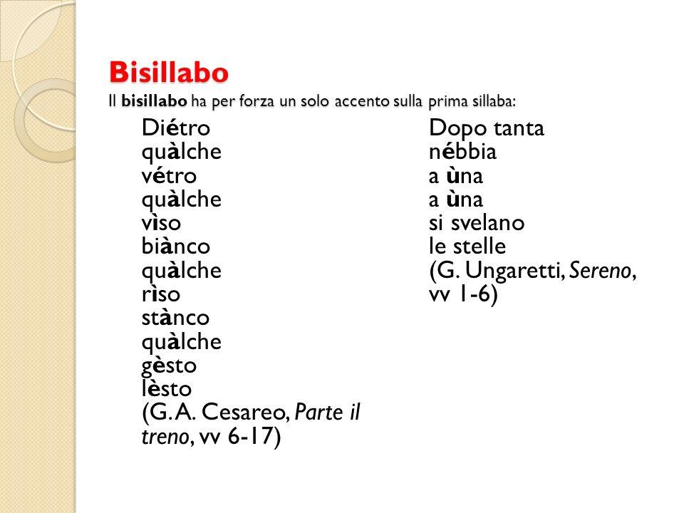 Bisillabo Il bisillabo ha per forza un solo accento sulla prima sillaba: Diétro quàlche vétro quàlche vìso biànco quàlche rìso stànco quàlche gèsto lèsto (G.