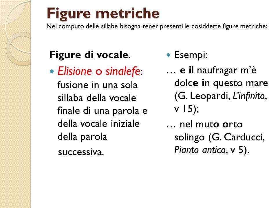 Figure metriche Nel computo delle sillabe bisogna tener presenti le cosiddette figure metriche: Figure di vocale. Elisione o sinalefe : fusione in una