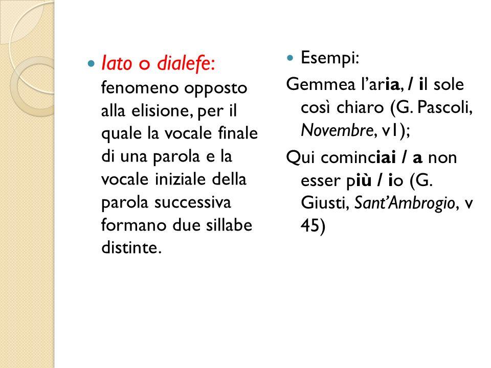Iato o dialefe: fenomeno opposto alla elisione, per il quale la vocale finale di una parola e la vocale iniziale della parola successiva formano due sillabe distinte.