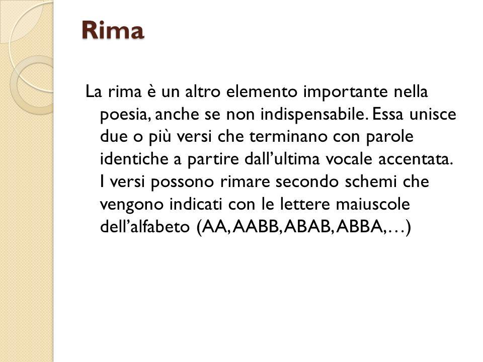 Rima La rima è un altro elemento importante nella poesia, anche se non indispensabile.