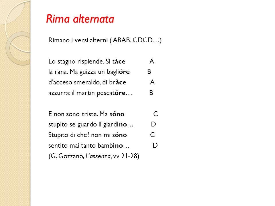 Rima alternata Rimano i versi alterni ( ABAB, CDCD…) Lo stagno risplende.