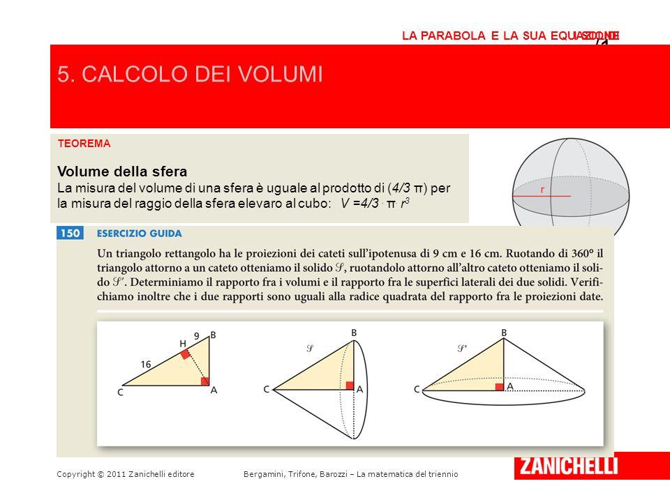Copyright © 2011 Zanichelli editoreBergamini, Trifone, Barozzi – La matematica del triennio LA PARABOLA E LA SUA EQUAZIONE /1 5 4.