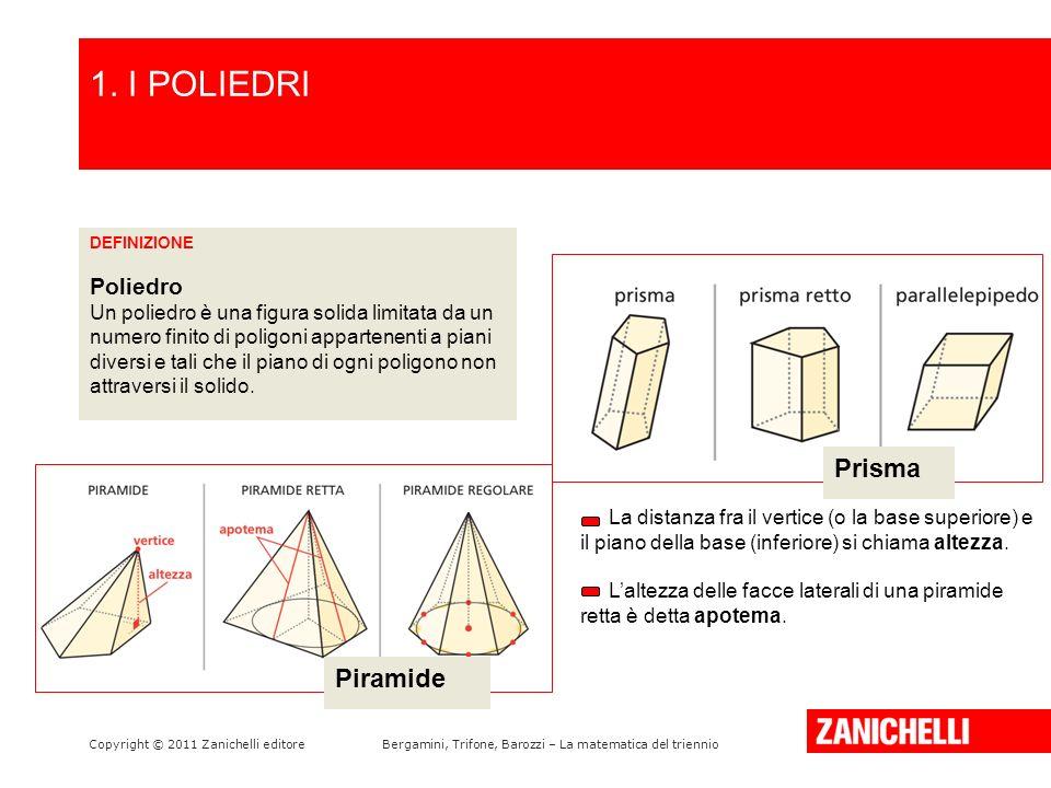 I poligoni si dicono facce del poliedro; i loro lati si dicono spigoli del poliedro.