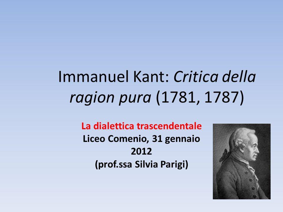 Immanuel Kant: Critica della ragion pura (1781, 1787) La dialettica trascendentale Liceo Comenio, 31 gennaio 2012 (prof.ssa Silvia Parigi)