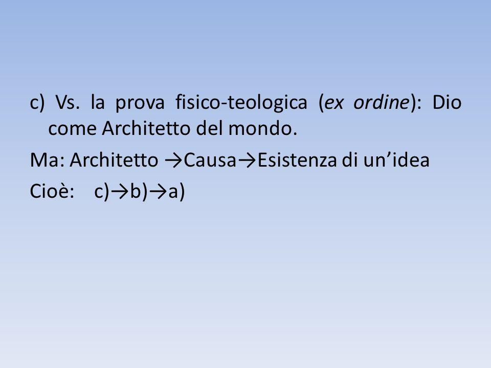 c) Vs. la prova fisico-teologica (ex ordine): Dio come Architetto del mondo. Ma: Architetto CausaEsistenza di unidea Cioè: c)b)a)