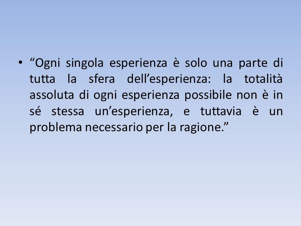 Ogni singola esperienza è solo una parte di tutta la sfera dellesperienza: la totalità assoluta di ogni esperienza possibile non è in sé stessa unespe