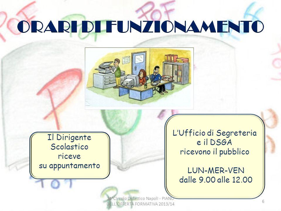 LUfficio di Segreteria e il DSGA ricevono il pubblico LUN-MER-VEN dalle 9.00 alle 12.00 Il Dirigente Scolastico riceve su appuntamento 6 21°Circolo Di