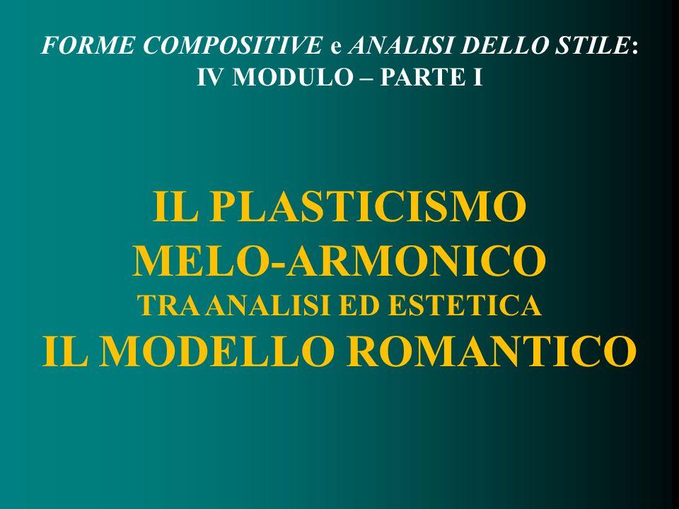 FORME COMPOSITIVE e ANALISI DELLO STILE: IV MODULO – PARTE I IL PLASTICISMO MELO-ARMONICO TRA ANALISI ED ESTETICA IL MODELLO ROMANTICO