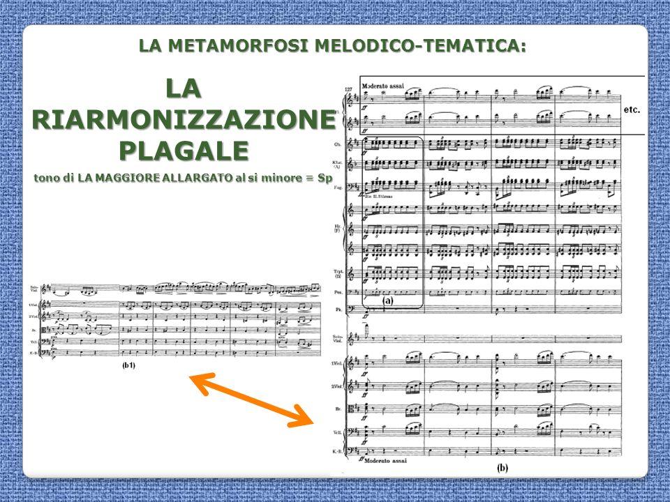 LA METAMORFOSI MELODICO-TEMATICA: LA RIARMONIZZAZIONE PLAGALE tono di LA MAGGIORE ALLARGATO al si minore = Sp tono di LA MAGGIORE ALLARGATO al si mino
