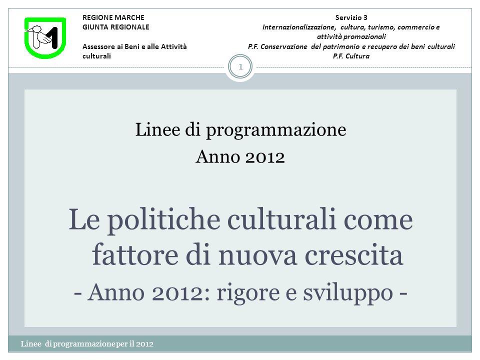 Cultura e recuperi monumentali Linee di programmazione per il 2012 12 Nel corso del 2012 proseguiranno gli interventi di recupero finanziati con lasse V del FESR (per circa 20 milioni), con risorse FAS per circa 18 milioni.