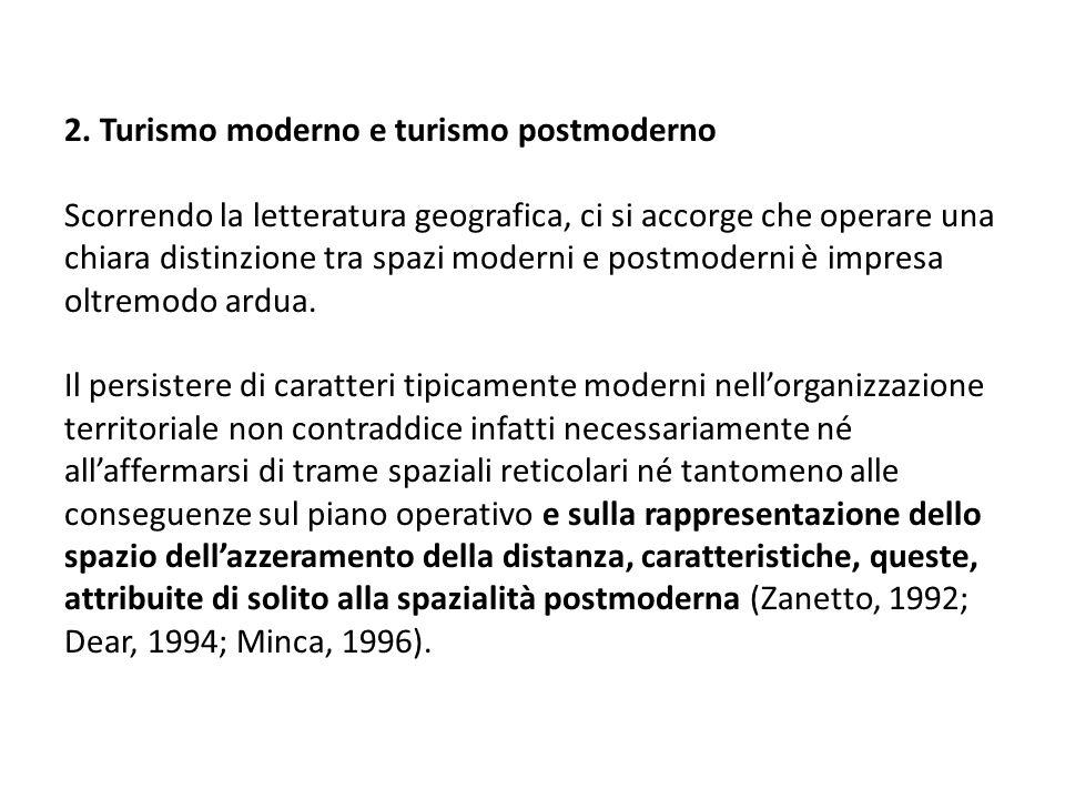 2. Turismo moderno e turismo postmoderno Scorrendo la letteratura geografica, ci si accorge che operare una chiara distinzione tra spazi moderni e pos