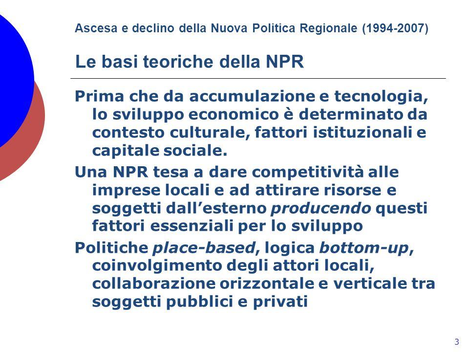 Ascesa e declino della Nuova Politica Regionale (1994-2007) Le basi teoriche della NPR Prima che da accumulazione e tecnologia, lo sviluppo economico è determinato da contesto culturale, fattori istituzionali e capitale sociale.
