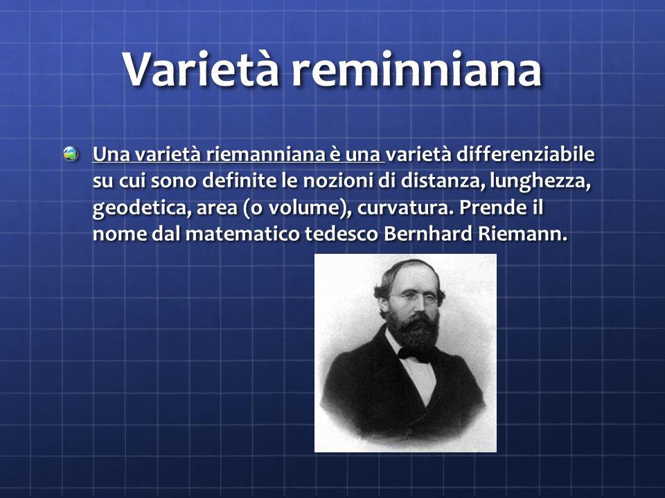 Varietà reminniana Una varietà riemanniana è una varietà differenziabile su cui sono definite le nozioni di distanza, lunghezza, geodetica, area (o volume), curvatura.