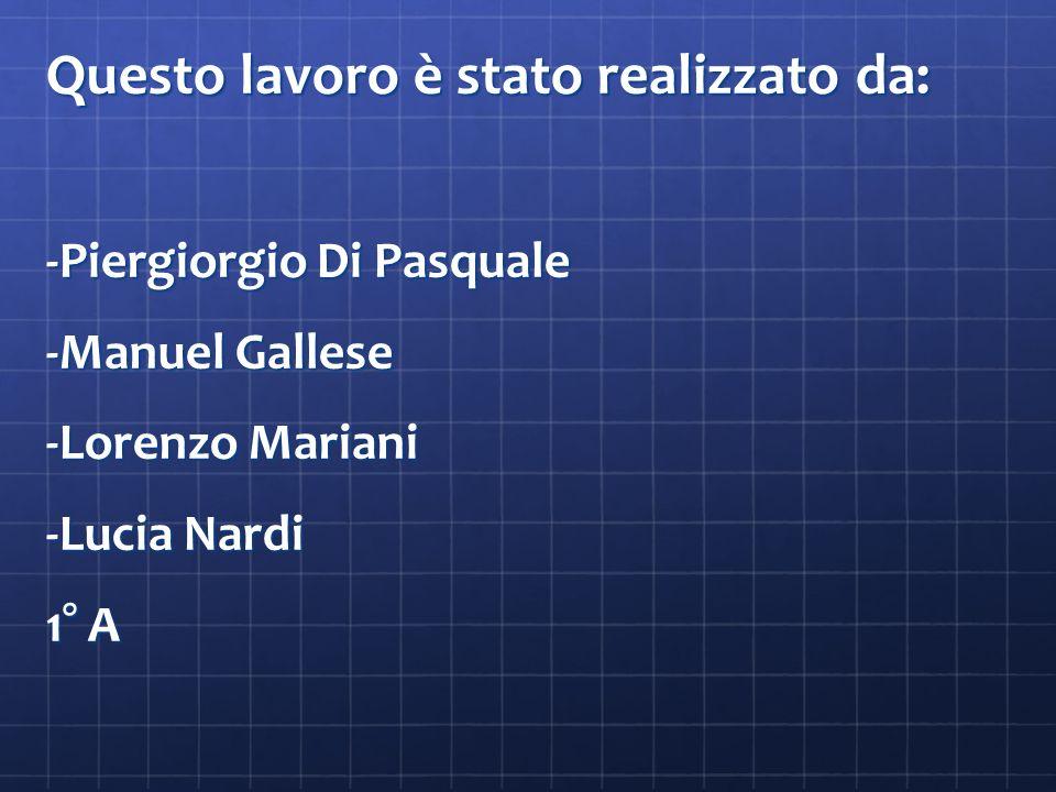 Questo lavoro è stato realizzato da: -Piergiorgio Di Pasquale -Manuel Gallese -Lorenzo Mariani -Lucia Nardi 1° A