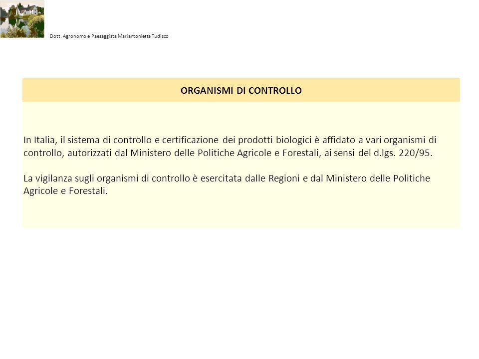 Dott. Agronomo e Paesaggista Mariantonietta Tudisco ORGANISMI DI CONTROLLO In Italia, il sistema di controllo e certificazione dei prodotti biologici