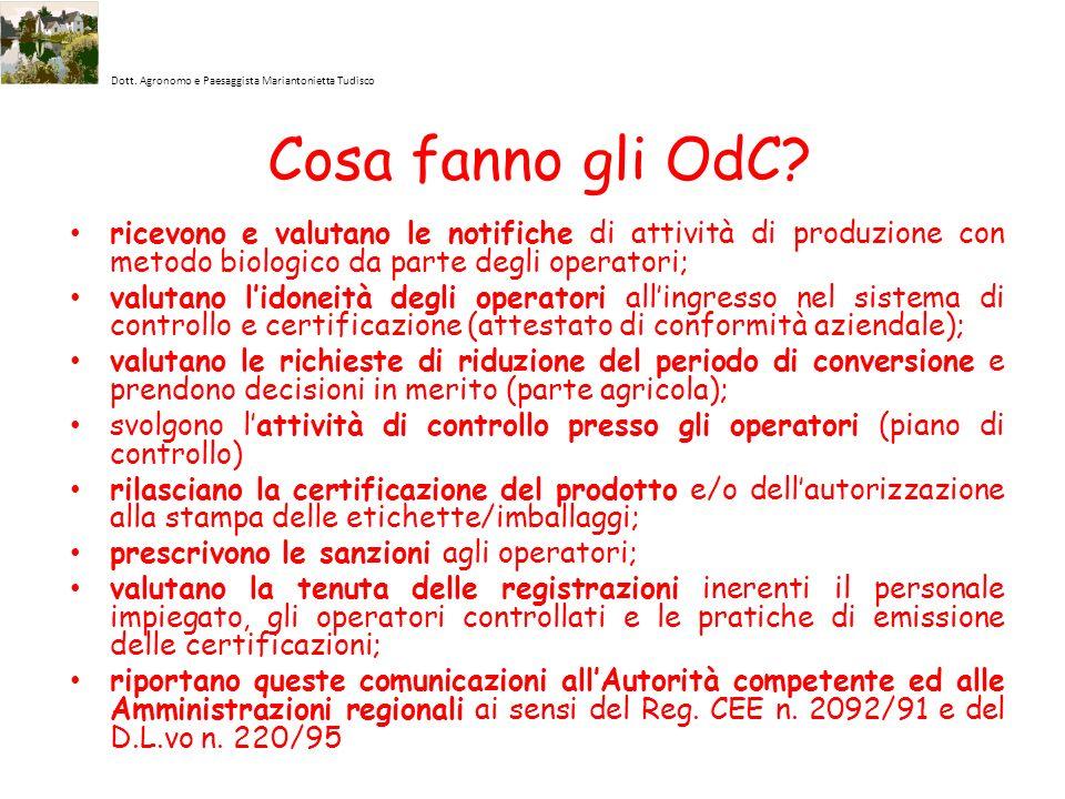 Dott. Agronomo e Paesaggista Mariantonietta Tudisco Cosa fanno gli OdC? ricevono e valutano le notifiche di attività di produzione con metodo biologic