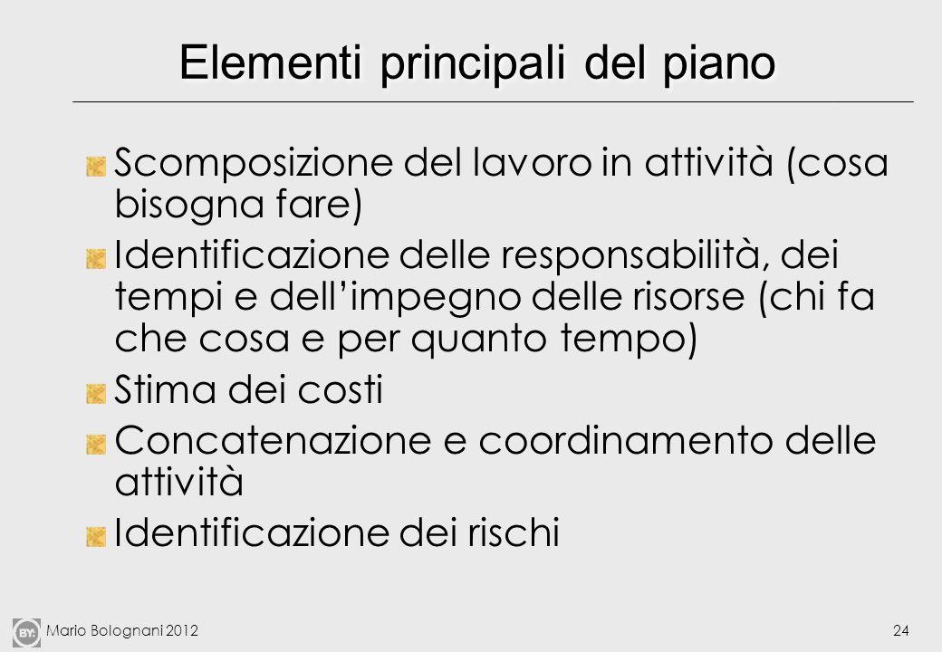 Mario Bolognani 201224 Elementi principali del piano Scomposizione del lavoro in attività (cosa bisogna fare) Identificazione delle responsabilità, de