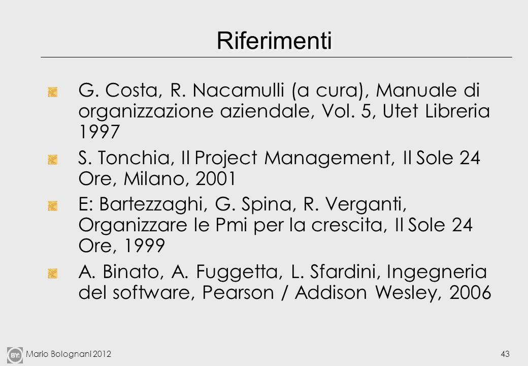 Mario Bolognani 201243 Riferimenti G. Costa, R. Nacamulli (a cura), Manuale di organizzazione aziendale, Vol. 5, Utet Libreria 1997 S. Tonchia, Il Pro