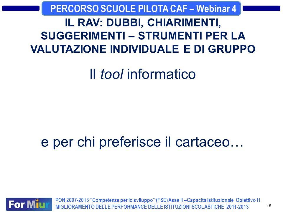 PERCORSO SCUOLE PILOTA CAF – Webinar 4 PON 2007-2013 Competenze per lo sviluppo (FSE) Asse II –Capacità istituzionale Obiettivo H MIGLIORAMENTO DELLE