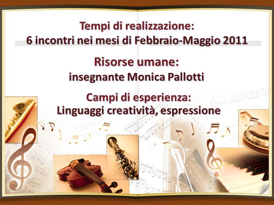 Tempi di realizzazione: 6 incontri nei mesi di Febbraio-Maggio 2011 Risorse umane: insegnante Monica Pallotti Campi di esperienza: Linguaggi creativit