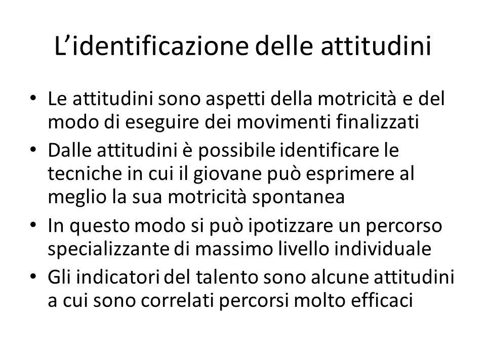 Lidentificazione delle attitudini Le attitudini sono aspetti della motricità e del modo di eseguire dei movimenti finalizzati Dalle attitudini è possi